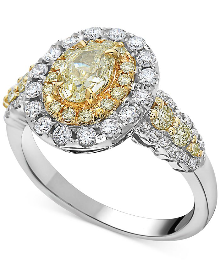 Macy's - Certified Diamond Fancy Color Halo Engagement Ring (1-1/2 ct. t.w.) in 14k Gold & White Gold
