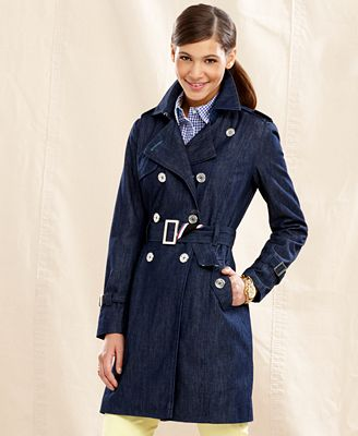 Tommy Hilfiger Jacket Long Sleeve Denim Belted Trench