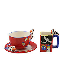 Three Star 3 Piece Cow Style Mugs with Plates