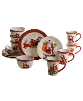 Vintage Santa 16pc Dinnerware Set