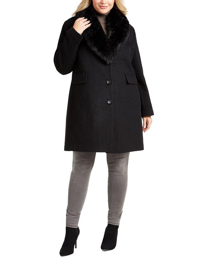 DKNY - Plus Size Faux-Fur Shawl-Collar Coat