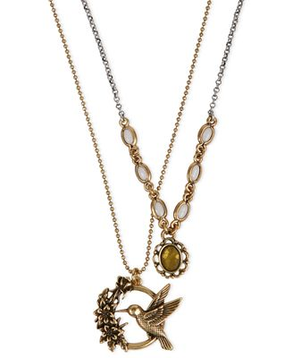 Lucky brand necklace gold tone hummingbird double for Macy s lucky brand jewelry