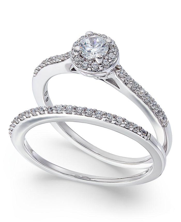 Macy's - Diamond Halo Bridal Set (1/2 ct. t.w.) in 14k White Gold