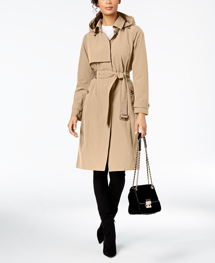 Michael Kors - Single Breasted Hooded Trench Coat