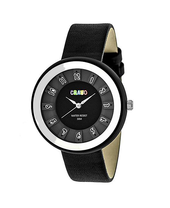 Crayo Unisex Celebration Black Genuine Leather Strap Watch 38mm