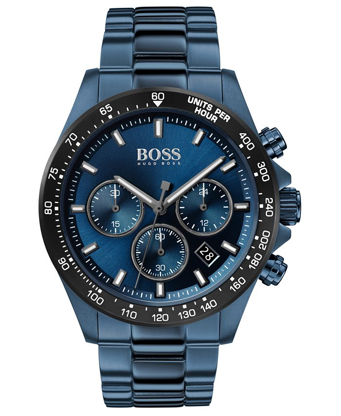 BOSS - Men's Chronograph Hero Blue Ion-Plated Stainless Steel Bracelet Watch 43mm