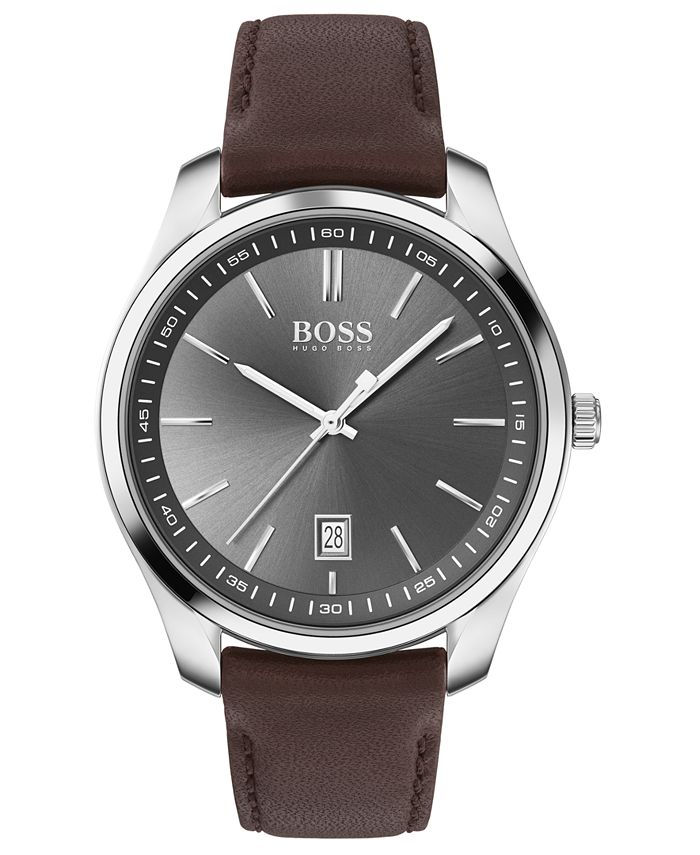 BOSS - Men's Circuit Brown Leather Strap Watch 42mm
