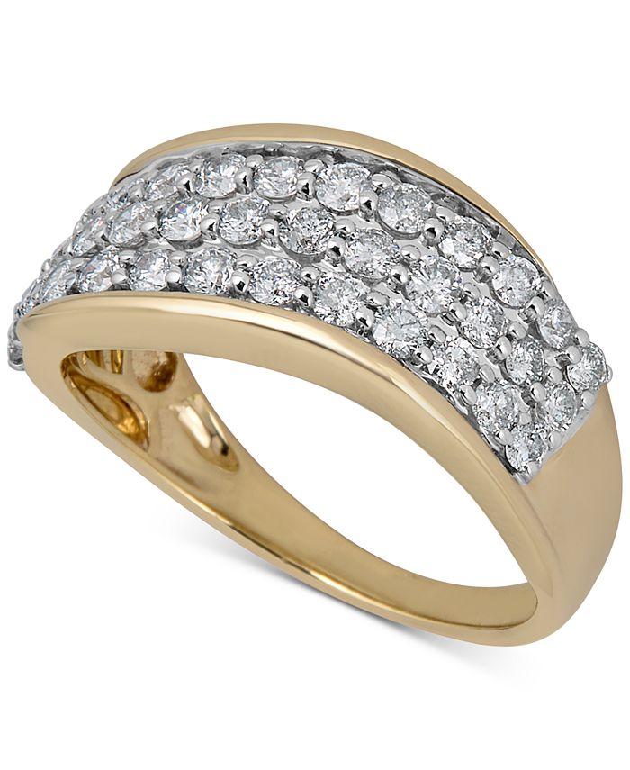 Macy's - Diamond Cluster Swirl Band (1 ct. t.w.) in 14k Gold