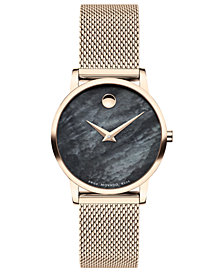 Movado Women's Swiss Museum Classic Rose Gold PVD Stainless Steel Mesh Bracelet Watch 28mm
