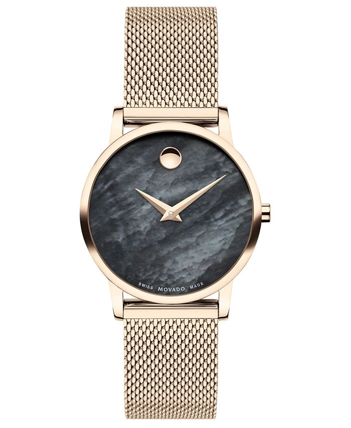 Movado - Women's Swiss Museum Classic Rose Gold PVD Stainless Steel Mesh Bracelet Watch 28mm