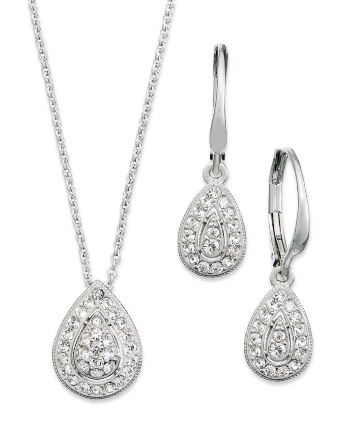 Eliot Danori Rhodium-Plated Crystal Teardrop Earrings and Pendant Necklace Set, Created for Macy's & Reviews - Fashion Jewelry - Jewelry & Watches - Macy's