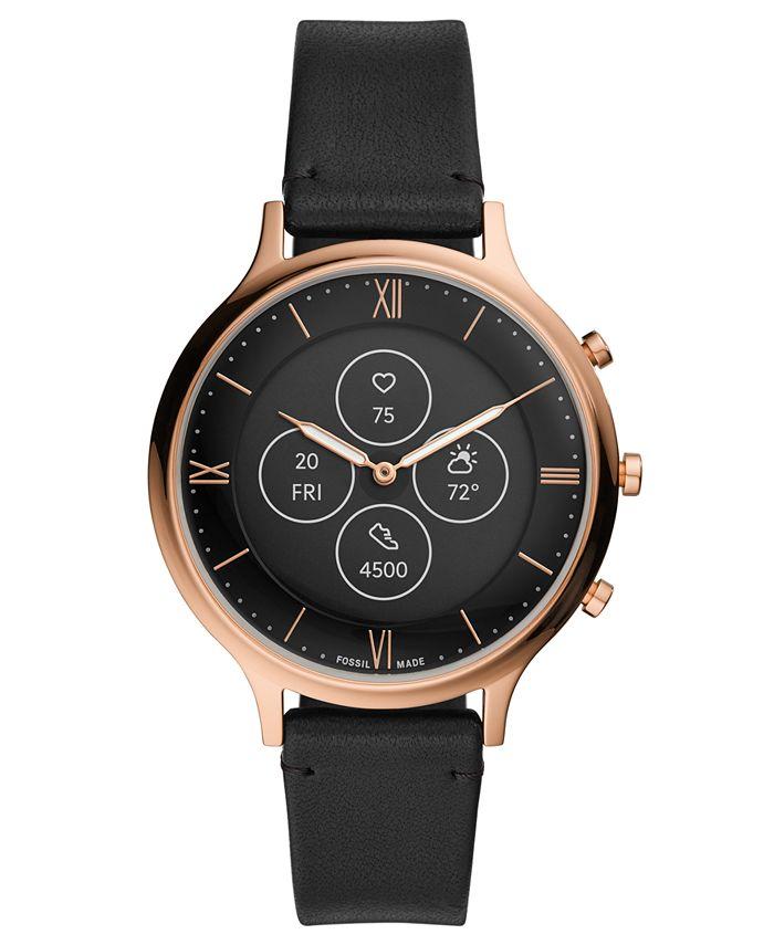 Fossil - Women's Charter Black Leather Strap Hybrid Smart Watch 42mm