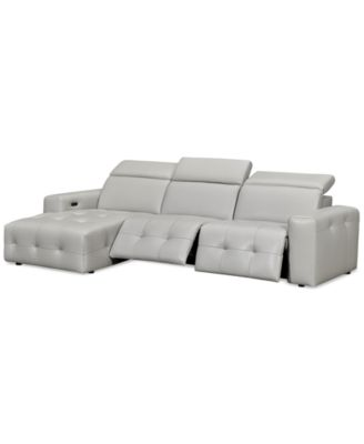 Haigan 3-Pc. Leather Chaise Sectional Sofa with 2 Power Recliners, Created for Macy's