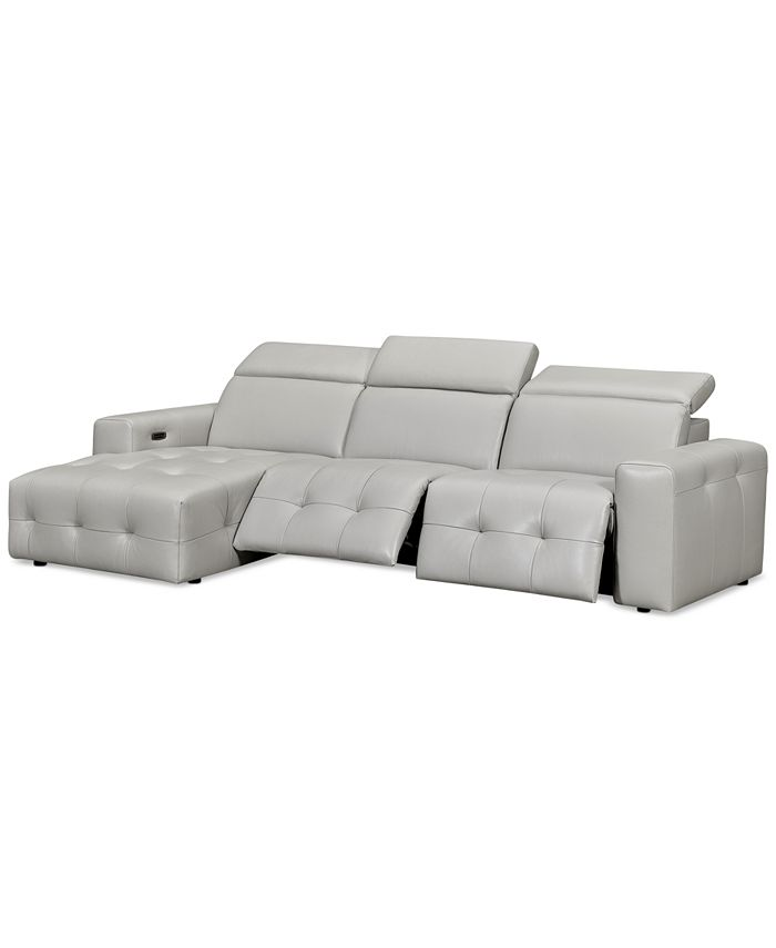 Furniture - Haigan 3-Pc. Leather Chaise Sectional Sofa with 2 Power Recliners