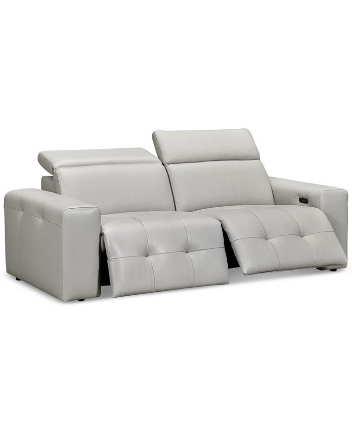 Furniture - Haigan 2-Pc. Leather Sectional Sofa with 2 Power Recliners