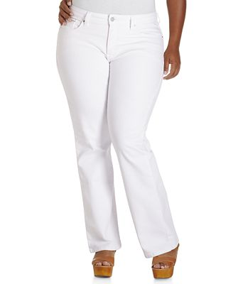 Plus Size White Bootcut Jeans Billie Jean