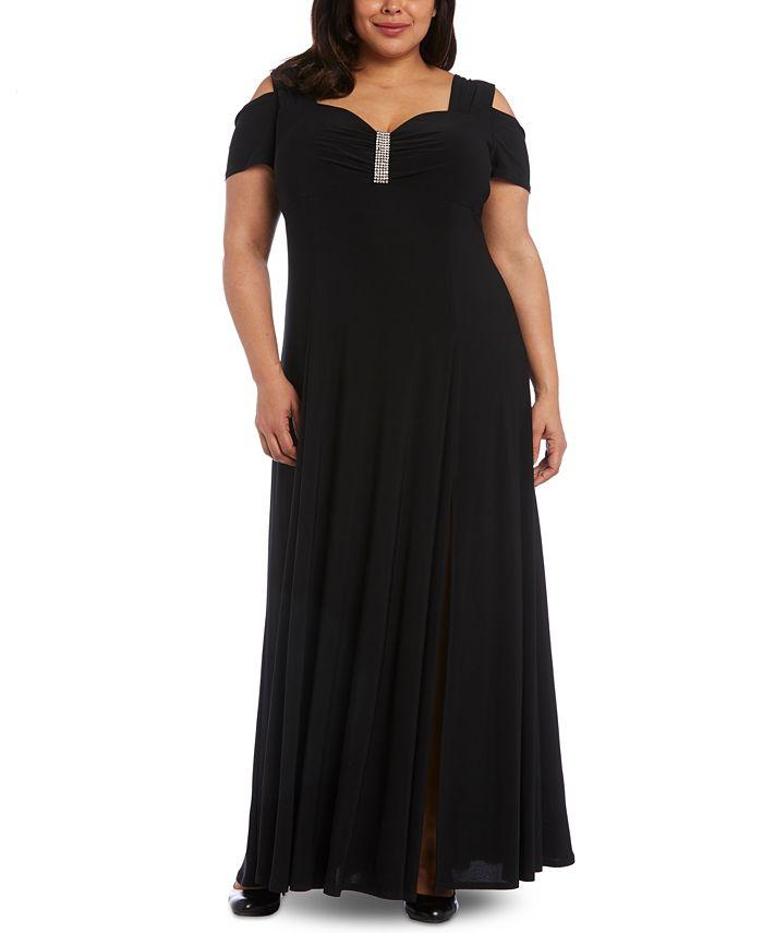 R & M Richards - Plus Size Rhinestone-Detail Gown