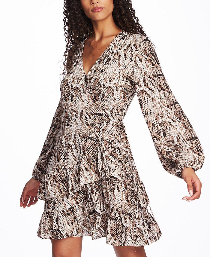 1.STATE - Ruffled Snake-Print Wrap Dress