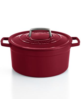 Martha Stewart Collection Collector's Enameled Cast Iron 6 Qt. Round Cranberry Casserole