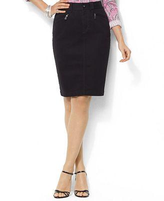 co plus size skirt black denim pencil