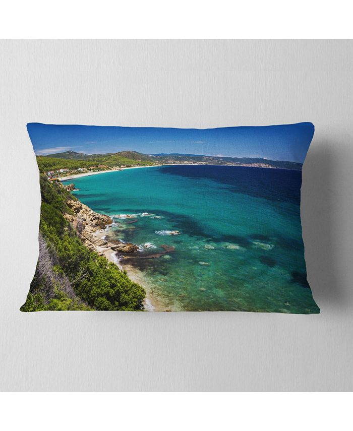 Design Art Designart Beautiful Greek Beach Of Sea Seashore Throw Pillow 12 X 20 Reviews Decorative Throw Pillows Bed Bath Macy S