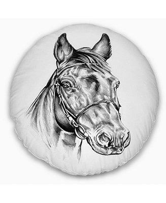 Design Art Designart Freehand Horse Head Pencil Drawing Animal Throw Pillow 20 Round Reviews Decorative Throw Pillows Bed Bath Macy S