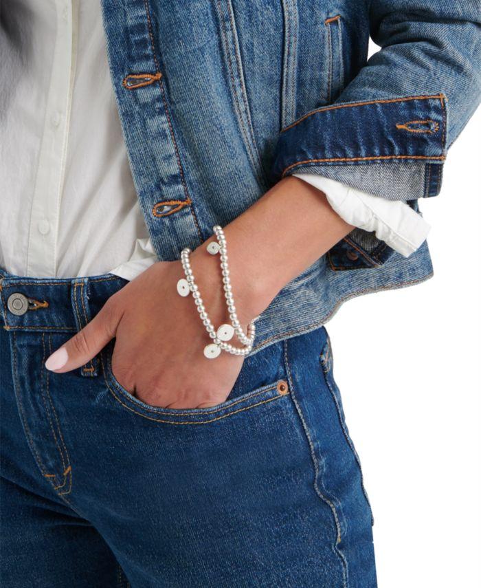 Lucky Brand Silver-Tone 2-Pc. Set Pavé Disc Charm Beaded Stretch Bracelets & Reviews - Bracelets - Jewelry & Watches - Macy's