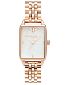 Olivia Burton Women's Bee Hive Rose Gold-Tone Stainless Steel Bracelet Watch 20mm