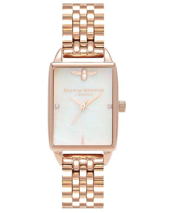 Olivia Burton Women's Bee Hive Rose Gold-Tone Stainless Steel Bracelet Watch 20mm