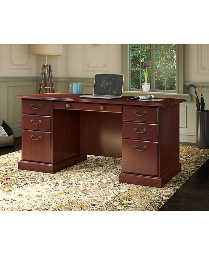 Kathy Ireland Home by Bush Furniture - kathy ireland® Home by Bush Furniture Bennington Manager's Desk in Harvest Cherry