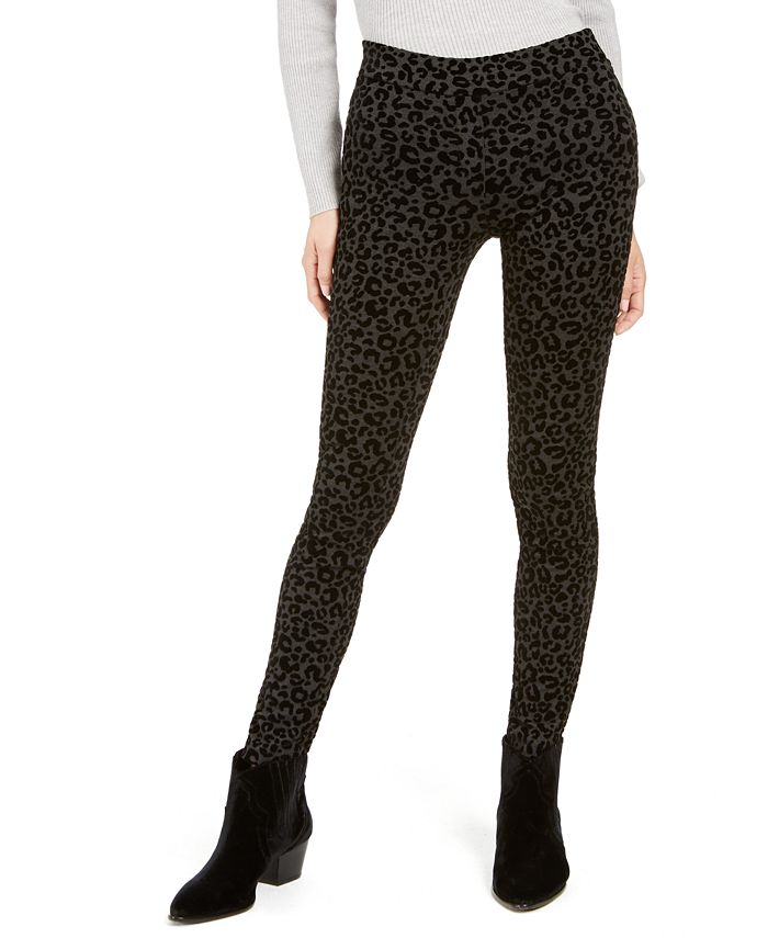 Style & Co - Cheetah Flocked Ponté-Knit Jeggings, Created For Macy's