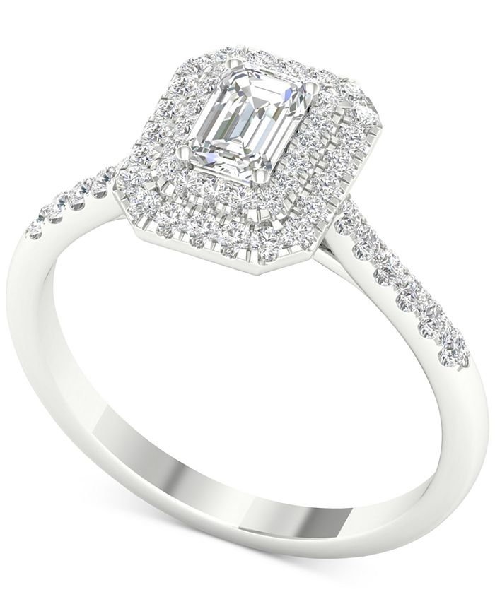 Macy's - Diamond Triple-Halo Engagement Ring (3/4 ct. t.w.) in 14k White Gold