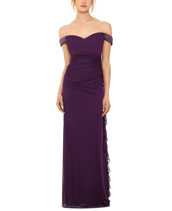 Betsy & Adam - Off-The-Shoulder Ruched Gown