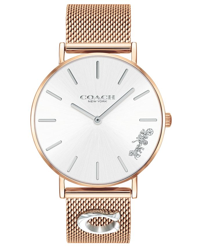 COACH - Women's Perry Rose Gold-Tone Mesh Bracelet Watch 36mm