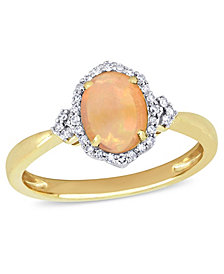 Yellow Opal (3/4 ct. t.w.) and Diamond (1/8 ct. t.w.) Halo Ring 10k Yellow Gold