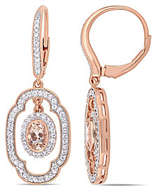 Morganite (1 ct. t.w.) White Sapphire (1 ct. t.w.) and Diamond (1/10 ct. t.w.) Dangle Earrings in 18k Rose Gold Over Silver
