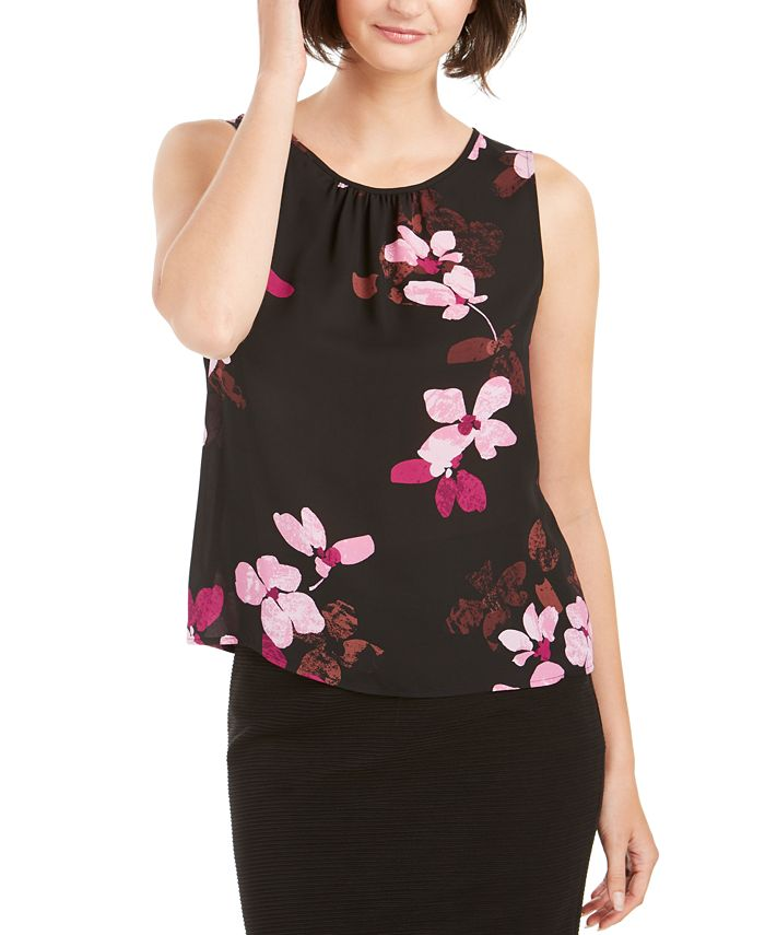 Nine West - Printed Ruched-Neck Top