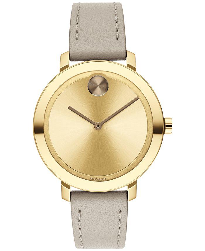 Movado - Women's Swiss BOLD Beige Leather Strap Watch 34mm