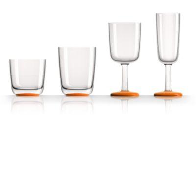 by Palm Tritan Wine Glass with Orange non-slip base, Set of 2