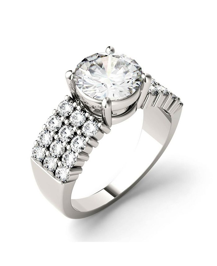 Charles & Colvard - Moissanite Three Row Engagement Ring 2-9/10 ct. t.w. Diamond Equivalent in 14k White Gold