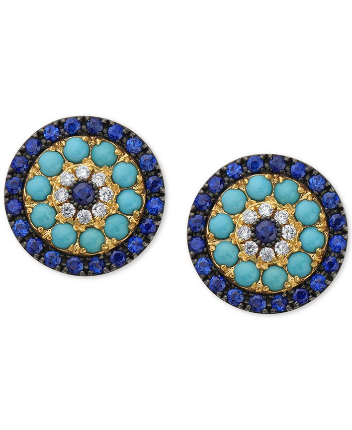 EFFY Collection - Sapphire (1-1/2 ct. t.w.), Turquoise & Diamond (1/10 ct. t.w.) Stud Earrings in 14k Gold