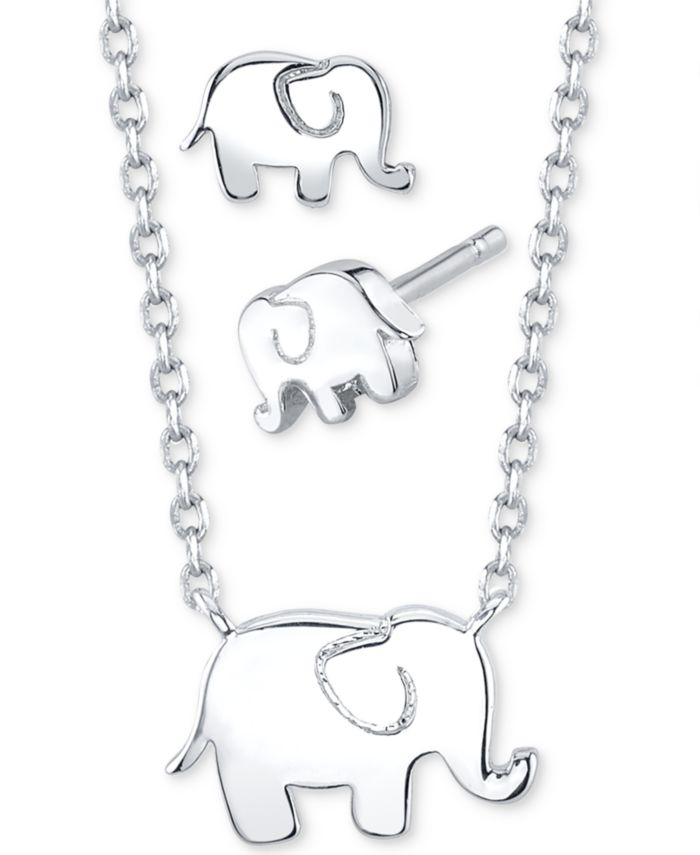 Unwritten 2-Pc. Set Mini Elephant Pendant Necklace & Stud Earrings in Fine Silver-Plate, Created for Macy's & Reviews - Fashion Jewelry - Jewelry & Watches - Macy's