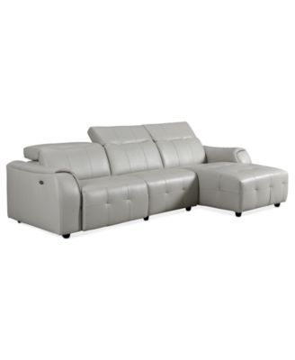 Novara Leather Reclining Sofa, 5 Piece Power Recliner Sectional ...