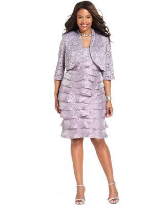 R M Richards Plus Size Dress And Jacket Sleeveless Sequin Lace