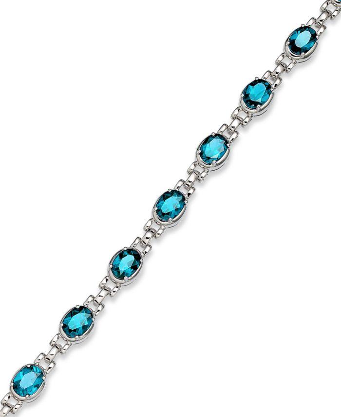 Macy's Sterling Silver Bracelet, Blue Topaz Oval Link Bracelet (13 ct. t.w.)  & Reviews - Bracelets - Jewelry & Watches - Macy's