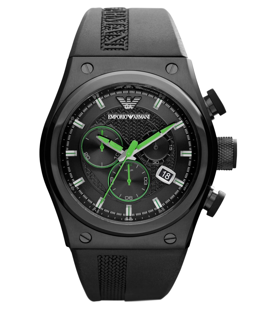 Emporio Armani Watch, Mens Chronograph Blue Rubber Strap 48x44mm AR6107   Watches   Jewelry & Watches