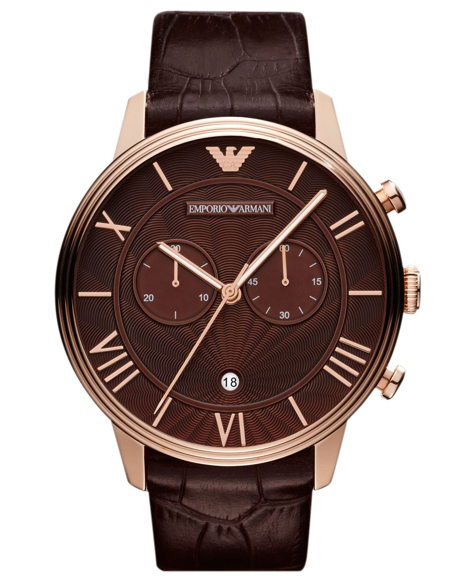 Emporio Armani Watch, Mens Chronograph Brown Croco Leather Strap 46mm AR1616   Watches   Jewelry & Watches