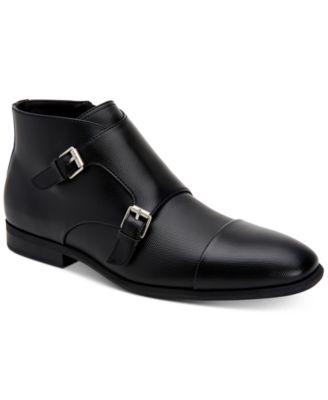 black monk strap boots