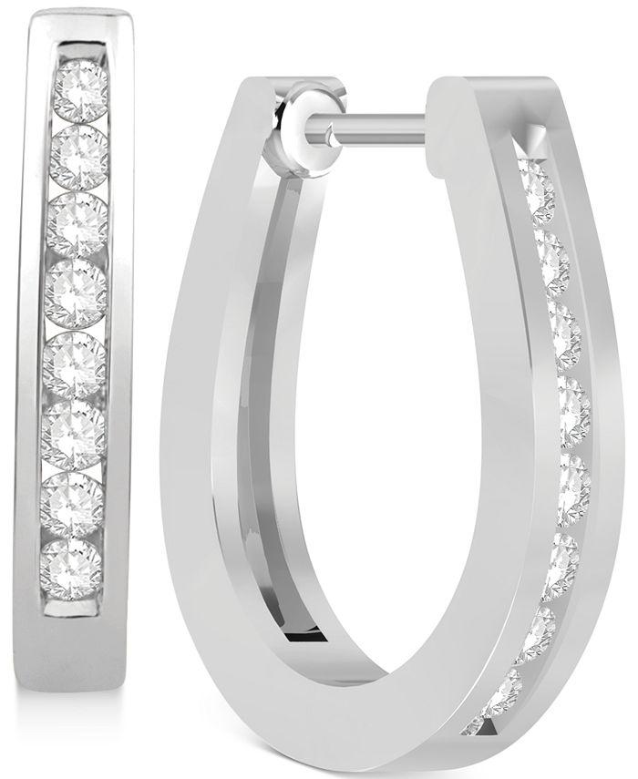 Macy's - Diamond Hoop Earrings (1/4 ct. t.w.) in 14k White Gold or 14k Gold