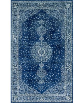 Mobley Mob1 Navy Blue 5' x 8' Area Rug
